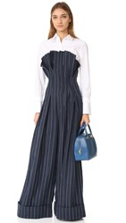 Jacquemus Wide Leg Jumpsuit Dark Navy White Stripe