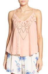 Women's Astr 'Born To Run' Lace Tank Peach Whip