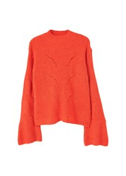 Mango Openwork Knit Sweater Red