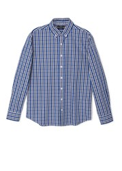 Mango Slim Fit Check Shirt Bright Blue