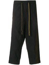 Ziggy Chen Pinstriped Cropped Trousers Blue