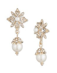 Marchesa Simulated Pearls And Goldtone Brass Drop Earrings