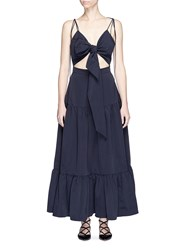 Xiao Li Cutout Tie Front Tiered Maxi Dress Blue