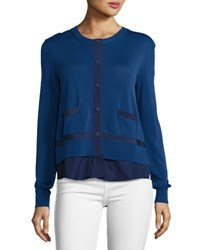 Moncler Knit Cardigan W Pleated Peplum Navy