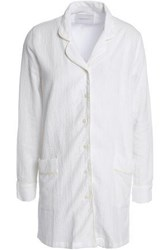 Solid And Striped Cotton Blend Jacquard Shirt White