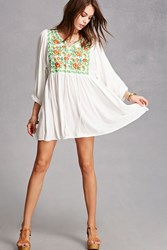 Forever 21 Velzera Floral Embroidered Tunic