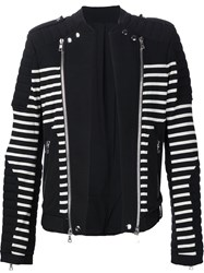 Balmain Striped Biker Style Jacket Black