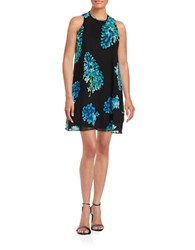 Calvin Klein Floral Chiffon Trapeze Dress Regatta Multi