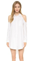 J.O.A. Cold Shoulder Shirtdress Off White