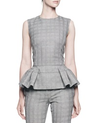 Alexander Mcqueen Sleeveless Plaid Top W Pleated Peplum