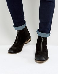 Asos Boots With Zip Front In Black Suede Black