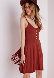 Missguided Jersey Lattice Skater Dress Rust Brown