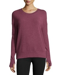 Alo Yoga Intricate Cutout Back Sport Pullover Grenache Heather White Heather