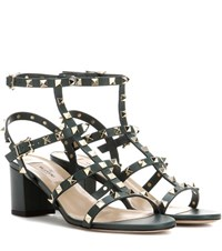 Valentino Rockstud Leather Sandals Green