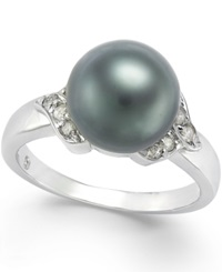 Macy's Tahitian Pearl 9Mm And Diamond Ring 1 6 Ct. T.W. In 14K White Gold