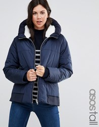 Asos Tall Padded Jacket With Faux Fur Hood And Knitted Trim Navy