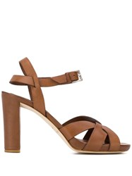 Del Carlo Strappy Block Heel Sandals Brown