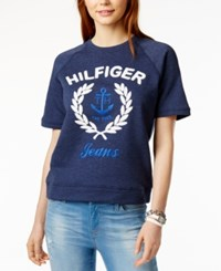 Tommy Hilfiger Short Sleeve Logo Sweatshirt Only At Macy's Navy Combo