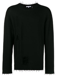 Helmut Lang Distressed Long Sleeve Sweater Black