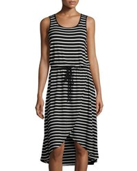 Neiman Marcus Striped Drawstring High Low Dress Black White