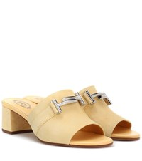 Tod's Double T Suede Mules Yellow