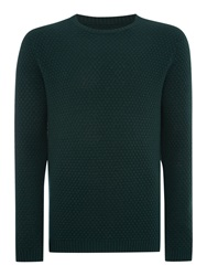 Peter Werth Billie Bubble Pattern Crew Neck Pull Over Jumpers Green