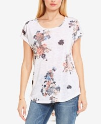 Vince Camuto Two By Floral Print Burnout T Shirt Ultra White