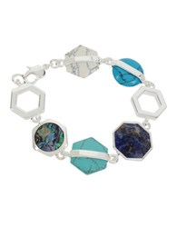Kenneth Cole Hexed Mixed Geometric Semi Precious Stone Bracelet Blue