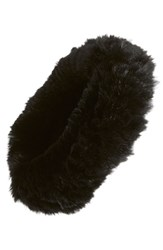 Dena Genuine Rabbit Fur Head Wrap Black