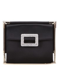 Roger Vivier Miss Viv' Mini Black Satin Shoulder Bag