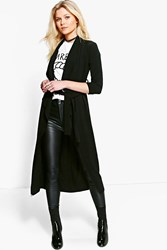 Boohoo Petite Emilie Woven Waterfall Belted Duster Black