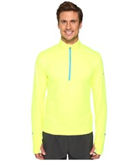 Brooks Dash 1 2 Zip Nightlife Ultra Blue Men's Long Sleeve Pullover Yellow