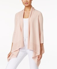 Cable And Gauge Open Front Cardigan Pale Blush