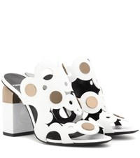 Pierre Hardy Penny Lace Leather Sandals White
