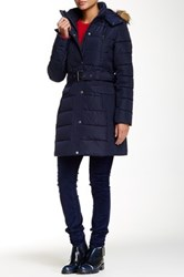 Tommy Hilfiger Down Jacket With Faux Fur Trim Blue