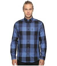 Ben Sherman Long Sleeve Textured Oversized Gingham Woven Shirt Washed Blue Men's Long Sleeve Button Up Multi
