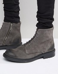 Walk London Stratford Suede Lace Up Boots Grey