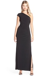 Laundry By Shelli Segal Beaded One Shoulder Jersey Gown Black