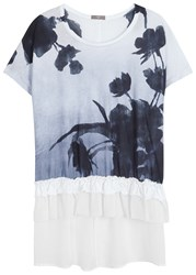 High Precis Printed Cotton And Cupro Top White