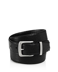 John Varvatos Star Usa Reversible Perforated Croc Embossed Leather Belt Black