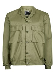 Topman Green Khaki Cotton Smart Shacket