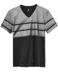 Inc International Concepts Men's Freddy Colorblocked Foil Print V Neck T Shirt Only At Macy's Deep Black