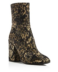 Ash Flora Embroidered Block Heel Booties Gold Black