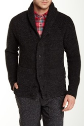 Apolis Genuine Suede Leather Elbow Patch Cardigan Gray