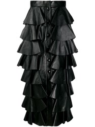 Saint Laurent Long Tiered Ruffle Skirt Black