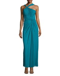 Decode 1.8 Pleated Halterneck Gown Teal