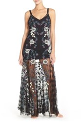 Free People Embroidered Tulle Maxi Nightgown Black