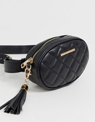 Aldo Quilted Cross Body Bag With Chain Tassel Black