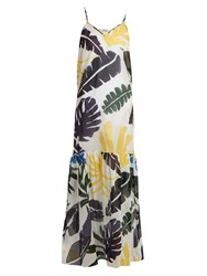 Kalmar Leaf Print Cotton Maxi Dress White Multi