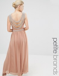 Tfnc Petite Wedding Embellished Back Detail Maxi Dress Brush Tan